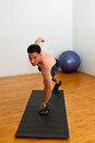 Coordination balance and flexibility athletic attributes improved in the gym Royalty Free Stock Images