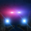Cop car hands up illustration of lights with Stock Photography