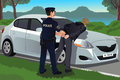 Cop handcuffs a law breaker vector illustration of near his car Royalty Free Stock Photography