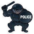Cop in protective equipment helmet shield and nightstick Royalty Free Stock Photos