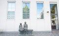Copenhagen, Denmark - August 25, 2014 - A old couple statue in downtown square, Copenhagen, Denmark. Royalty Free Stock Photo