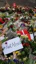 Copenhagen denmark shooting terror attack flowers respect hundreds of and flags in front of the cafe krudttønden in where one Stock Photo