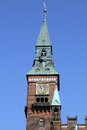 Copenhagen denmark tower clock at city hall square Stock Photos