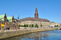 Copenhagen island slotsholmen embankment denmark with historic buildings Stock Photo