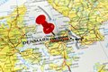 Copenhagen map with pin close up of on a red Stock Photography