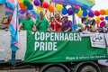 Copenhagen pride truck with participants from parade closing the rainbow festival malmö Stock Photos
