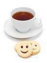 Copo do chá com cookies de sorriso Imagens de Stock Royalty Free