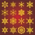Copos de nieve del oro Fotografía de archivo libre de regalías