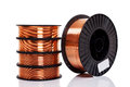 Copper alloy welding wire on spools Royalty Free Stock Photo