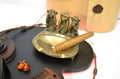 Copper ashtray with cigar and monkeys and amber earrings