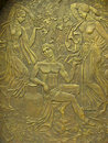 Copper bas-relief on the basis of ancient myths Royalty Free Stock Photo
