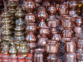 Copper and brass vessels in indian market Royalty Free Stock Photo