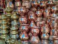 Copper and brass vessels selling in indian market Royalty Free Stock Photo