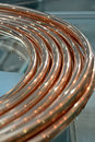 Copper cable bulk on the glass, modern industry, Stock Image