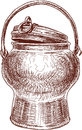 Copper can vector drawing of the vintage Royalty Free Stock Image