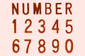 Copper Font Number 1 to 0, Retro style font face Royalty Free Stock Photo