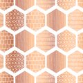 Copper hexagon seamless vector pattern. Metallic rose gold foil abstract geometric honeycomb shapes with hand drawn doodle texture Royalty Free Stock Photo