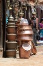 Copper houseware at bhaktapur market nepal kathmandu valley april unidentified local people selling their shops on april in Stock Images