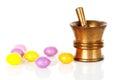Copper mortar with medicine Stock Photos
