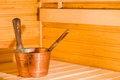 Copper pail and dipper in finnish sauna horizon format Stock Photo