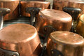 Copper pans Royalty Free Stock Photos
