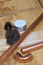 Copper pipe and plumbing supplies Royalty Free Stock Photo