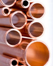 Copper pipes of different diameter Royalty Free Stock Photos