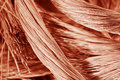Copper wire big pile of close up Stock Photos