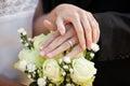 Coppie della persona appena sposata con le fedi nuziali ed il mazzo Immagine Stock