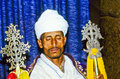 Coptic priest in ethiopia in his axum may church on may axum the church is based on the teachings of Royalty Free Stock Photo