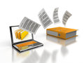 Copy files d image of laptop and folder Royalty Free Stock Images