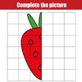 Copy by grid. Complete the picture children educational game, coloring page. Kids activity sheet with strawberry
