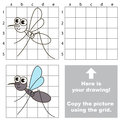 Copy the image using grid. Gnat. Royalty Free Stock Photo