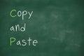 Copy and paste written on blackboard handwritten school Royalty Free Stock Images