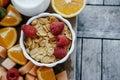 Copy space. Fresh sliced fruit: raspberry, kiwi, melon, oranges Royalty Free Stock Photo