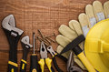 Copy space Working Tool On wood background Royalty Free Stock Photo