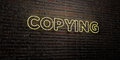 COPYING -Realistic Neon Sign on Brick Wall background - 3D rendered royalty free stock image