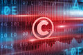 Copyright concept with red background red icon Royalty Free Stock Images