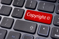 Copyright concepts message on keyboard enter key to illustrate the of Stock Photography