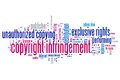 Copyright infringement issues and concepts word cloud illustration word collage concept Royalty Free Stock Images