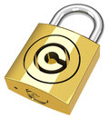 The copyright padlock d generated picture of a golden Stock Photography