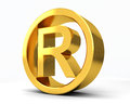 Copyright registered r with white background Stock Image