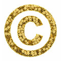 Copyright sign composed of golden stars isolated on white high resolution d image Stock Photography