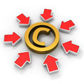 Copyright in the spotlight golden symbol surrounded by red arrows Stock Photography