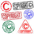 Copyright stamps rectangular and round rubber stamp s Royalty Free Stock Photography