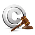 Copyright symbol and gavel illustration design over a white background Stock Images