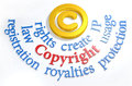 Copyright symbol ip legal words intellectual property concepts as around gold Stock Photos