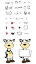 Copyspace cow cartoon expressions set in vector format very easy to edit Stock Image