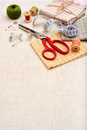 Copyspace frame with sewing tools and accesories Stock Image