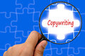 Copywriting word magnifier and puzzles Stock Image